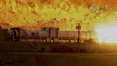 Nasa rocket booster during test-firing in Utah desert
