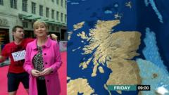 Dermot O'Leary dances through the BBC Breakfast weather report live on TV