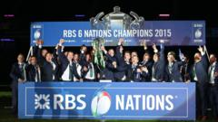 Ireland celebrate with Six Nations trophy