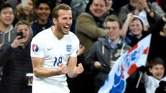 Harry Kane celebrates his first England goal