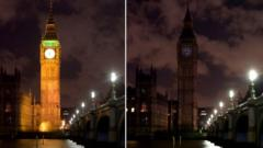 Big Ben before and after the lights go off for Earth Hour