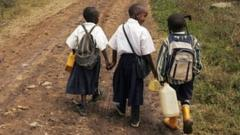 Children going to school in Tanzania