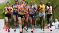 Women running the London Marathon in 2015