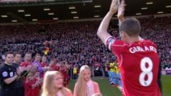 Steven Gerrard receives a Guard of Honour ahead of his final Liverpool game at Anfield