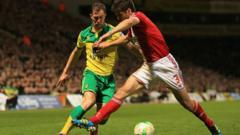 Norwich City in a match with Middlesbrough in April