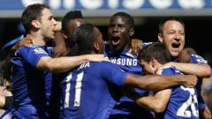 Chelsea footballers celebrating