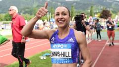 Jessica Ennis-Hill celebrating after the Hypo-Meeting heptathlon in Austria