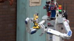 DRC-Hubo robot competing at Darpa Robotics Challenge in Pomona, CA, 6 JUne 2015