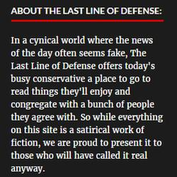 Disclaimer on satirical news site The Last Line of Defense