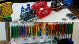 Os robôs feitos pelos alunos e as peças empregadas na montagem
