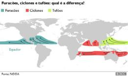 mapa mundi mostrando formação de ciclones, furacoes e tufoes