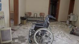 Sala do hospital destruída após explosão