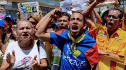 Marcha opositora em Caracas.