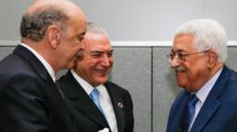 Serra e Temer na ONU, ao lado do presidente da Autoridade Palestina, Mahmoud Abbas
