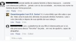 Reprodução de discussão entre Ivan Sartori e seguidor no Facebook