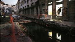 Obra para construção do VLT no centro do Rio de Janeiro