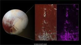 Detalhe de uma das planícies geladas de Plutão