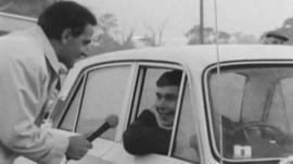 Motorist waits to go over Severn Bridge in 1966