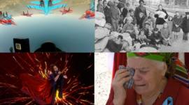 Images showing the view from a Russian pilot's cockpit flying over Crimea, Jamala, a woman crying at a deportation commemoration, and an archive photo of Crimean Tatars in 1944