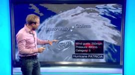 Simon King at weather map