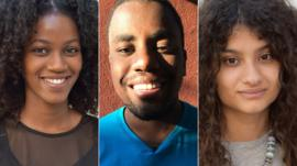 Left to right: Sarah Mmadi, 18, Mohamed Abdallah, 19, and Amal Osman, 18