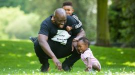 Marvyn Harrison with his two children
