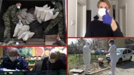Četiri fotografije u jednoj: vojnici, penzineri, maske