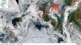 Los mapas que muestran la magnitud de los incendios en el Ártico