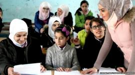 Students in Syria school
