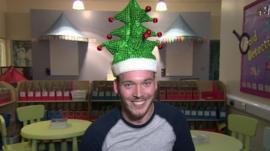 Martin wearing a Christmas hat