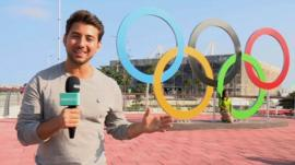 Ricky with Olympic rings