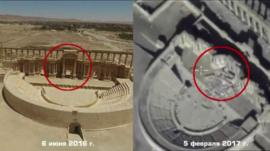 Palmyra's amphitheatre in June 2016 and February 2017