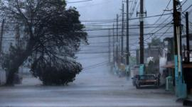 A street is flooded during the passing of Hurricane Irma in Fajardo, Puerto Rico