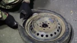 Still from footage released by Russia's Federal Security Service purports to show explosives found in a vehicle stopped at the checkpoint between Ukraine and Russian-controlled Crimea