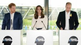 (l-r) Prince Harry, Duchess of Cambridge and Duke of Cambridge