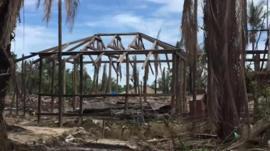 Burned structures in Rakhine state, Myanmar