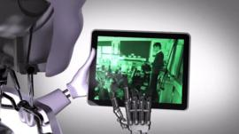 graphic of robot looking at tablet screen