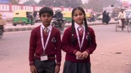 Children from Delhi front a report for BBC School Report.