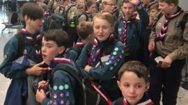 Scouts in airport