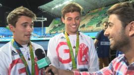Ricky interviewing Tom Daley and Dan Goodfellow