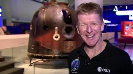 Tim Peake with his Soyuz capsule