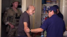 Supplies of food and water reach an old people's home that lost power when a hurricane hit Puerto Rico.