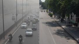 The same road in New Delhi, before and during lockdown.