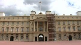 Scaffolding on Buckingham Palace