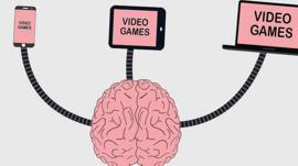 Graphic on a brain linked to video games
