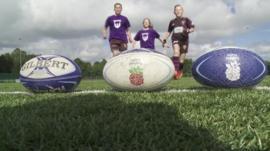 kids run towards rugby ball