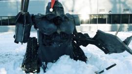 Sir Killalot shovelling snow