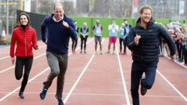 The Duke and Duchess of Cambridge and Prince Harry race