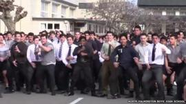 Pupils at the North Palmerston Boys' High School performing a Haka in memory of a