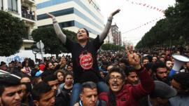 جانب من احتجاجات تونس ضد الغلاء